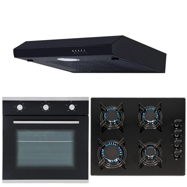 SIA 60cm Black Single Electric Fan Oven, 4 Burner Gas Hob And Visor Cooker Hood