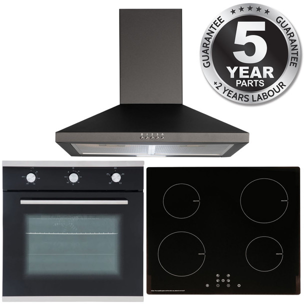 SIA 60cm Black Single Oven, ECO 13 Amp 4 Zone Induction Hob & Cooker Hood Fan
