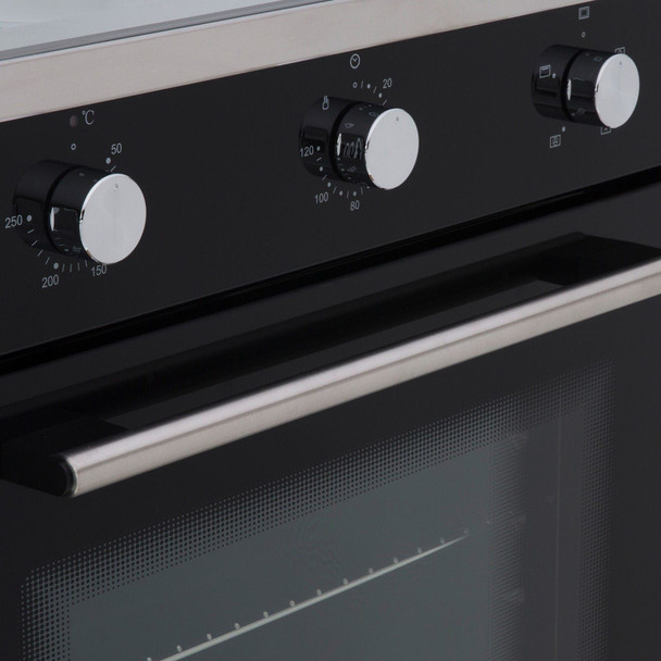 SIA 60cm Black Single Electric True Fan Oven, 70cm Gas Hob & Curved Glass Hood