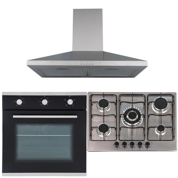 SIA 60cm Black Single Electric True Fan Oven, 70cm Gas Hob & Chimney Cooker Hood