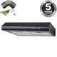 SIA STE50BL 50cm Black Slimline Visor Cooker Hood Extractor Fan & 3m Ducting
