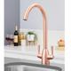 SIA KT5CU Copper Swan Neck Twin Lever Contemporary Monobloc Kitchen Mixer Tap