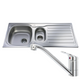 CDA CBS130SS Stainless Steel 1.5 Bowl Kitchen Sink & CDA Single Lever Chrome Tap