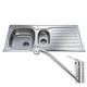 CDA CBS130SS Stainless Steel 1.5 Bowl Kitchen Sink & CDA Single Lever Chrome Tap