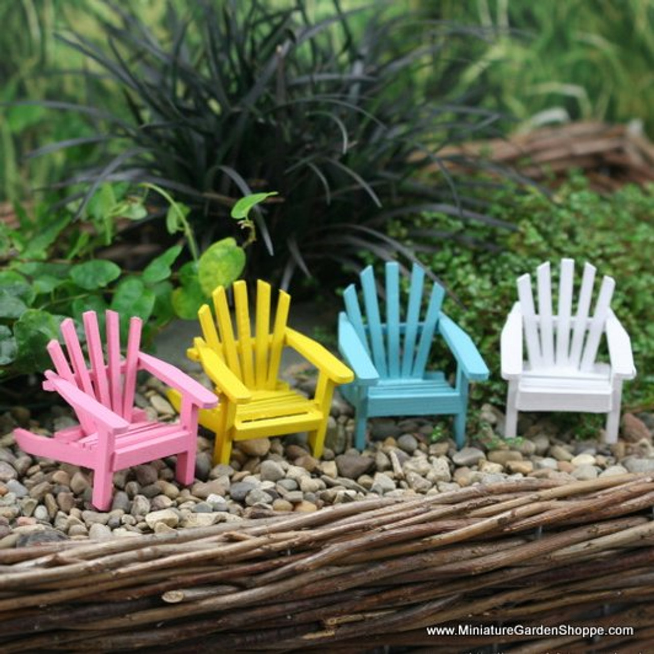 Closeout Purple Dollhouse Miniature Colorful Summer Adirondack Lawn Chair
