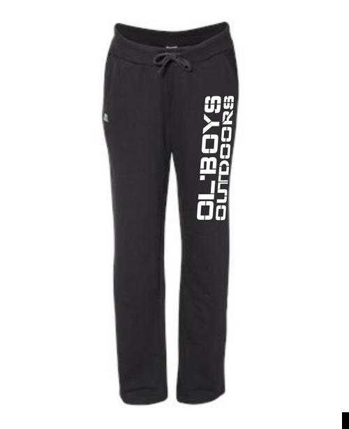 Ol Boys Outdoors Women's Lightweight Open Bottom Sweatpants (White Ink)