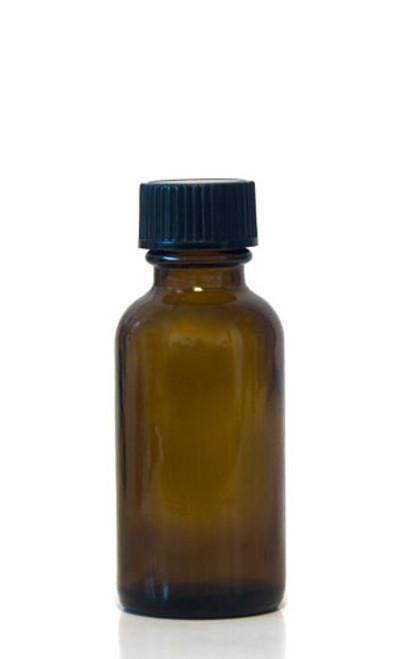 30ML (1oz) Boston Round Amber Bottles With Polycone Caps