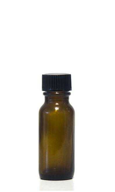 15ML (1oz) Amber Boston Round Bottles With Caps