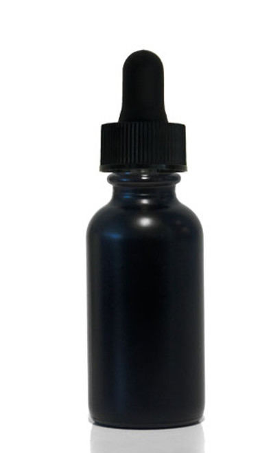30 ML (1 oz) Black Coated Clear Boston Round W/ Regular Dropper