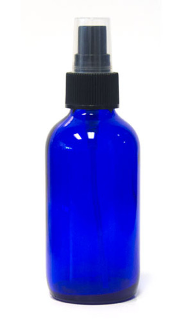 120ml Cobalt Blue Boston Round bottle with matching black mist sprayer /  24-400 neck finish - Includes clear plastic cap