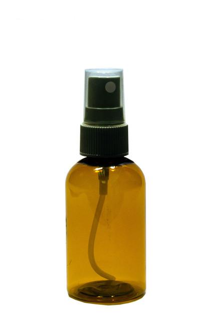 30 ml (1 oz) Amber PET Plastic Boston Round Bottle w/  Fine Mist Black Sprayer