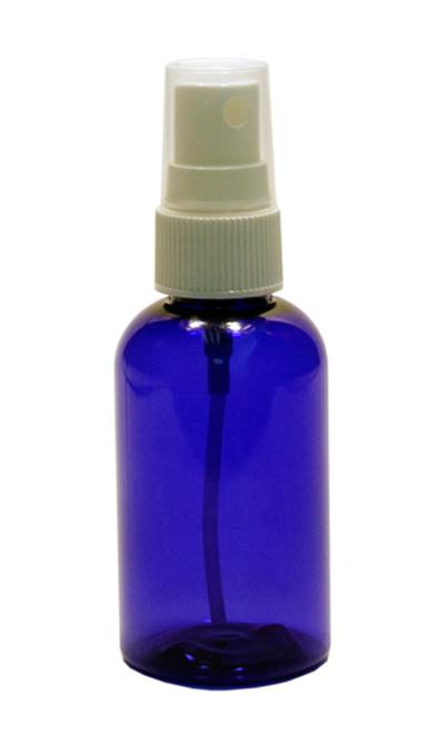 60ml (2oz.) Blue PET Plastic Boston Round Bottle w/ White Sprayer