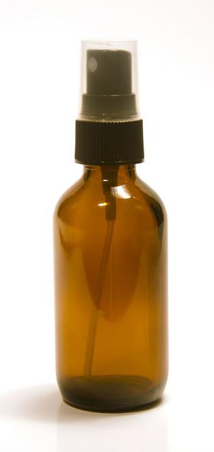 60ml (2oz) amber glass boston round spray bottle with black fine mist sprayer