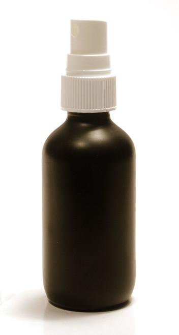 60ML (2oz) Black Coated Boston Round W/ Fine Mist White Sprayer