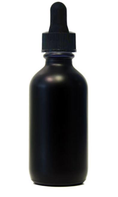 60ML (2 oz) Black Coated Glass Boston Round W/ Regular Dropper