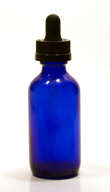 60ML (1 oz) Blue Boston Round Bottles with Child Resistant Dropper