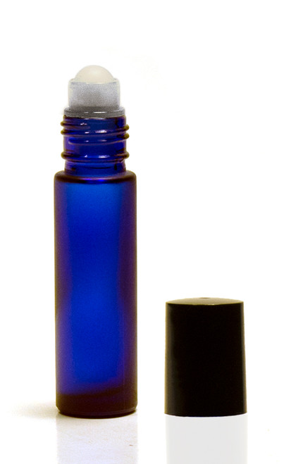 10ML Frosted Cobalt Blue Roll-on Bottle w/ Roller Ball, Insert & Black Cap