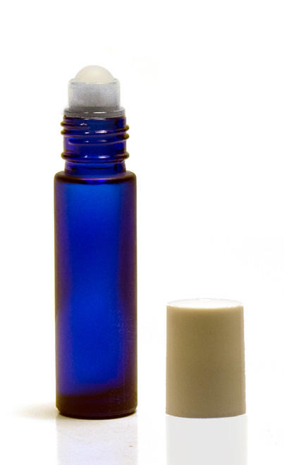 10ML Frosted Cobalt Blue Roll-on Bottle w/ Roller Ball, Insert & White Cap