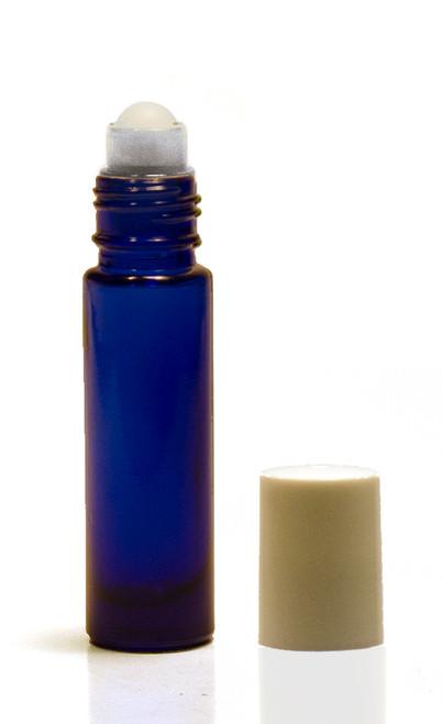 10ML Cobalt Blue Roll-on Bottle w/ Roller Ball, Insert & White Cap