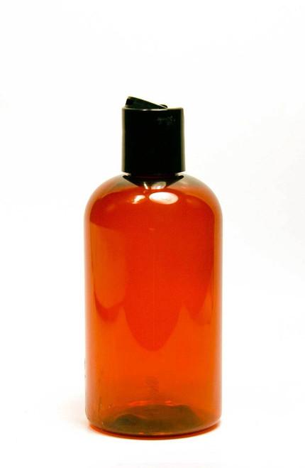 240ml (8oz.) Amber PET Plastic Boston Round Bottle with Black Dispenser Cap