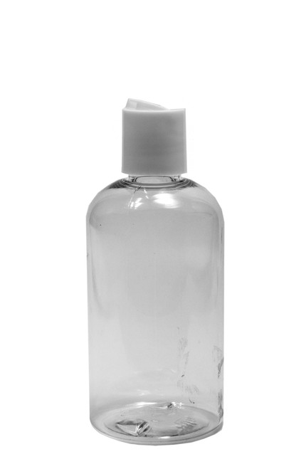 240ml (8oz.) Clear PET Plastic Boston Round Bottle with White Dispenser Cap
