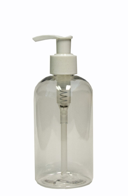 240ml (8oz.) Clear PET Plastic Boston Round Bottle with White Lotion Dispenser Pump