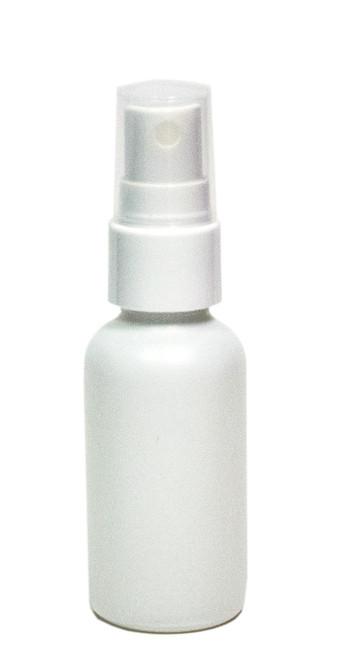 30ML (1oz) White Coated Clear Boston Round w/ White Fine Mist Sprayer