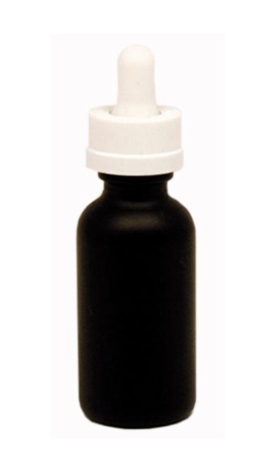30ML (1oz) Black Coated Boston Round Dropper Bottle with White Child Resistant Dropper