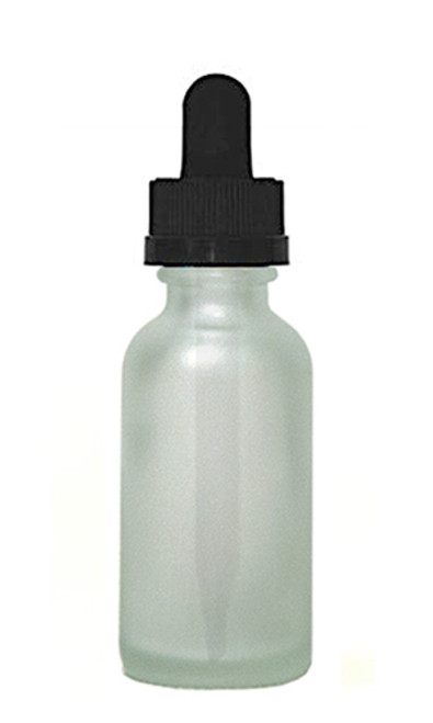 60ML (2 oz) Frosted Clear Boston Round Bottles w Child Resistant Dropper