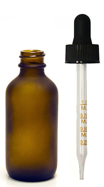 60ML (2oz) Frosted Amber Boston Round Bottle W/ Graduated Dropper