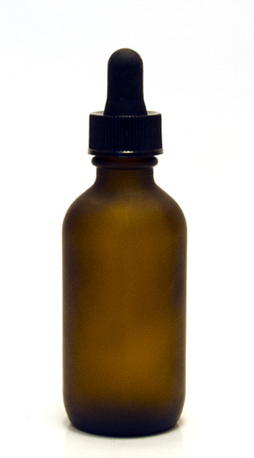 60ML (2oz) Frosted Amber Boston Round Bottles w Regular Dropper