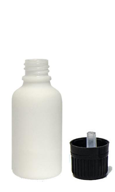 30ML (1oz) White Ceramic Euro Bottle with Tamper Evident Cap & Orifice Reducer