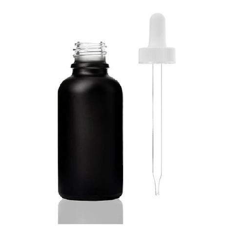 30ML (1 oz) Black Coated Boston Round W/ White Regular Dropper