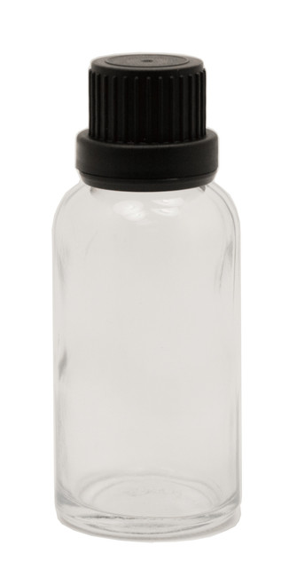 30ML (1oz.) Clear Glass Essential Oil Euro Bottle with Heavy Duty Tamper Evident Cap & Orifice Reducer