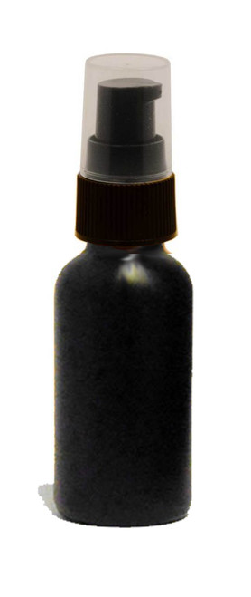 30 ML (1 oz) Black Coated Boston Round with Black Treatment Pump