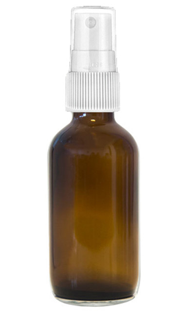 120ml Amber Boston Round bottle with matching White mist sprayer /  24-400 neck finish - Includes clear plastic cap