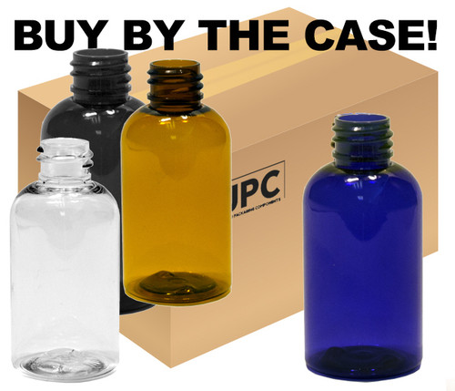 Case of 30 ml (1 oz) Amber, clear, black, or blue PET Plastic Boston Round Bottles