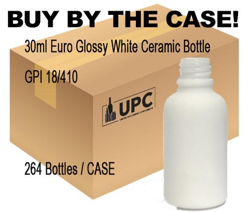 30ML (1oz) White Ceramic Euro Bottle case-264 bottles