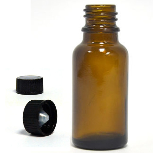 30ML Amber Essential Oil Bottle with Black Polycone Cap
