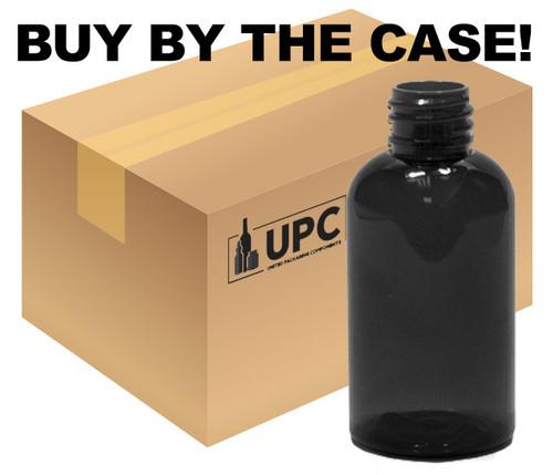 Case of 30 ml (1 oz) black PET Plastic Boston Round Bottles