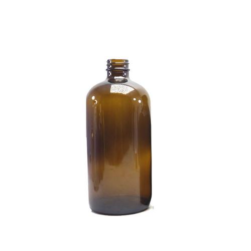8 oz amber glass Boston round bottle with 24-400 neck finish