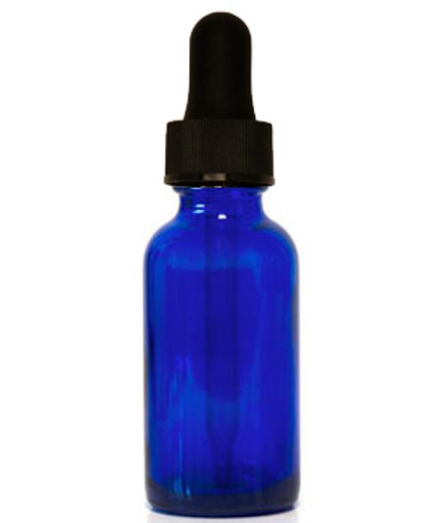 15ML (0.5oz) Blue Glass Boston Round Bottle W/ black regular Dropper