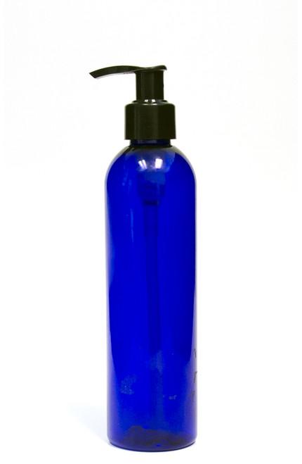 240ml (8oz.) Blue PET Bullet Bottle with Black Lotion Pump