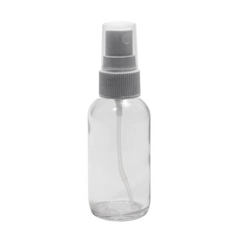 Case 240 X 60 ML (2 oz) Clear Boston Round Bottle W/  Fine Mist white sprayer