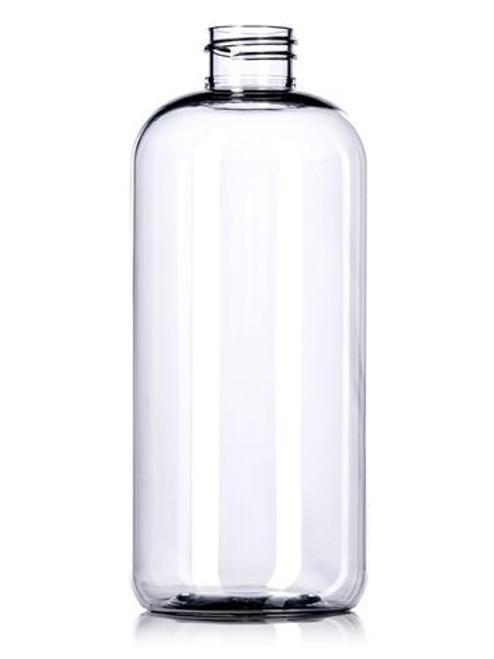 16 oz clear PET plastic boston round bottle with 28-410 neck finish
