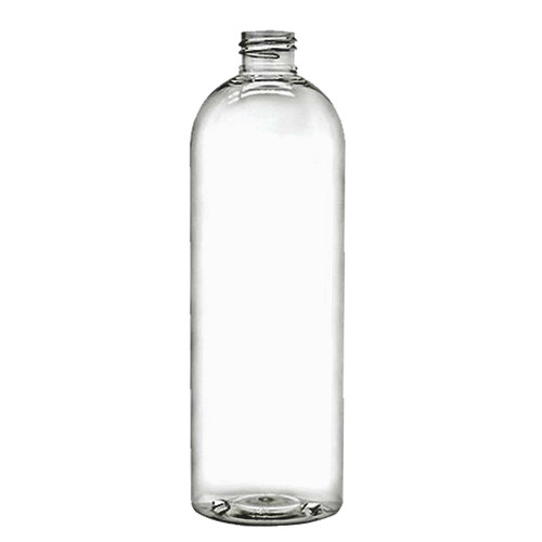 8 oz Clear PET Cosmo Round Plastic Bottle, with 24 mm 24-410 Neck Finish.