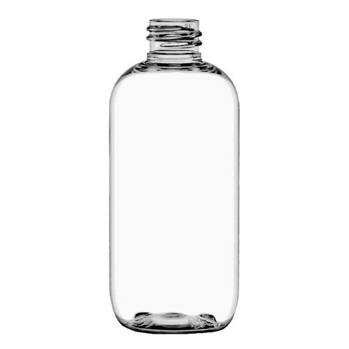 250ml 8 oz clear PET plastic boston round bottle with 24-410 neck finish