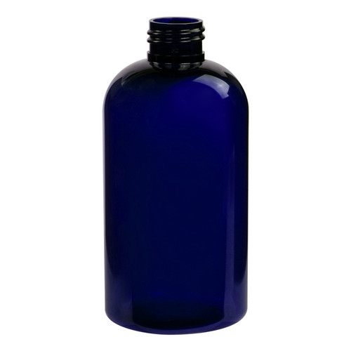 8 oz 250 ml Cobalt Blue PET Squat Boston Round bottle, 24-410, Made with FDA Compliant Material. UV Resistant.