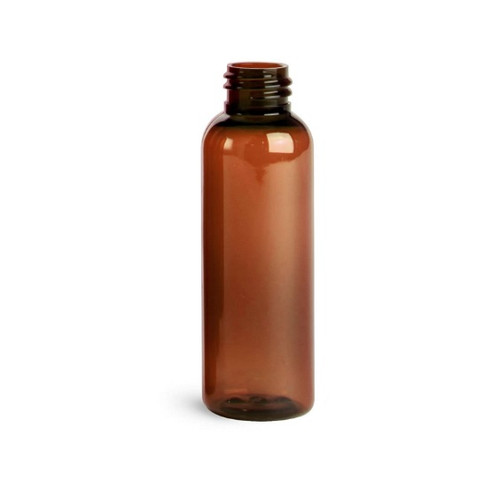 2 oz amber PET plastic cosmo round bottle with 20-410 neck finish