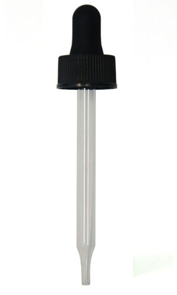 Glass Dropper for 60ml Boston Round 89mm pipette w/ 20mm neck (BLACK)